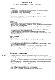 Photographer Resume Description Objective Photography Samples