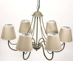 shabby chic grey cream beige metal 6 way linen shades ceiling light chandelier