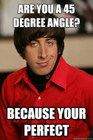 are you a 45 degree angle? Because your Perfect - Howard Wolowitz ... via Relatably.com