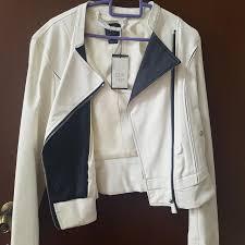 bnwt armani exchange women s white leather jacket women s fashion clothes outerwear on carou