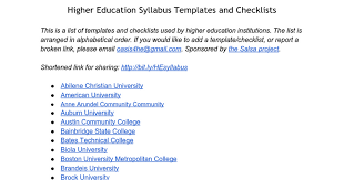 college syllabus template higher education syllabus templates and checklists google docs