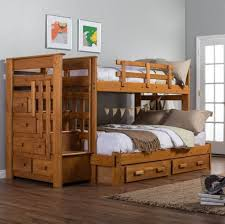 Bedroom: Solid Wood Bunk Beds Ideas With Storage And Stairs For Boys Bedroom  - Bunk
