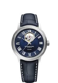 raymond weil maestro blues automatic open aperture blue leather watch