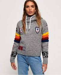 California Sport Crop Hoodie By Superdry In Grey Marl