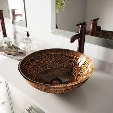 details about vigo golden greek glass circular vessel bathroom sink with faucet