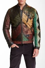 image of scotch soda multicolor graphic printed genuine leather jacket