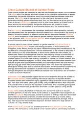 Cross cultural influences on gender role essay   Document in A     Get Revising Preview of Cross cultural influences on gender role essay
