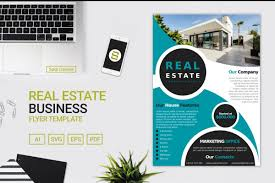 Real Estate Business Flyer Template Design With Cyan Colour