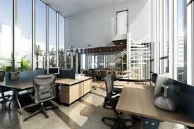 office ceilings. Open Interior Furnished Modern Office With Large Ceilings And Windows .  Photo Realistic 3d Rendering Stock
