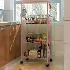 ssv007 4 layer diy multipurpose rolling storage wheels shelf home office kitchen rack study room bookcase