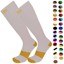 Knee High Graduated 15 20mmhg Compression Socks For Nurses Pregnancy Exercising Tennis Cardio Cycling 24 Color Schemes By Fitdio L Xl Gold