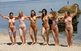 Nudist girls at beach