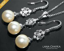 chandelier jewelry pearl bridal chandelier jewelry set ivory pearl set pearl silver set wedding pearl jewelry chandelier jewelry