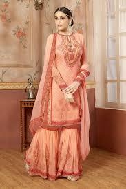 Designer Sharara Suits Designer Embroidered Peach Fancy Georgette Sharara Suit