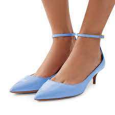 light blue patent leather pointed toe ankle strap kitten heels shoes image 1