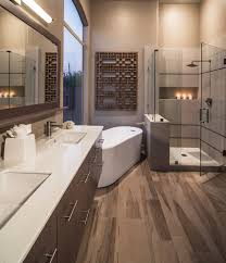 contemporary bathroom with cancos tile wall shower arean and hardwood floor design