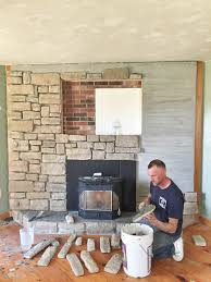 Brick fireplace makeover | Brick to stone veneer fireplace makeover | How to  do a stone