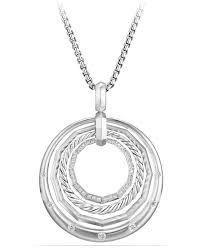 david yurmanstax round pendant necklace with diamonds
