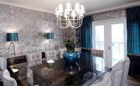 view in gallery wallpaper shapes the perfect backdrop for the brilliant blue accents design atmosphere interior design