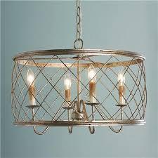 horchow trellis drum cage chandelier gold silver bronze modern farmhouse lattice
