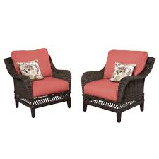 hampton bay woodbury wicker outdoor patio lounge chair with chili cushion 2 pack