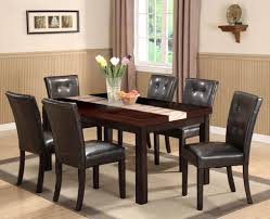 black wood rectangular dining table. Furniture. Black Leather Chair With Wooden Legs Combined Rectangle Brown Table Placed Wood Rectangular Dining