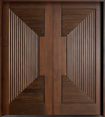 Modern Front Door Custom Double Solid Wood with Walnut Finish