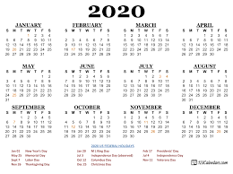 Printable Calendars 2020 With Holidays Free Printable Year 2020 Calendar 123calendars Com