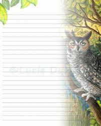 Lined Page Template Impressive Digital Printable Journal Writing Lined Page Bird 48 Owl Etsy
