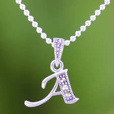 marcasite and sterling silver letter a pendant necklace silver letter a