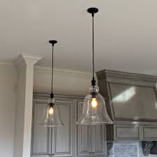 Clear Glass Pendant Lights For Kitchen Island Above Kitchen Counter Large Glass Bell Hanging Pendant Lights