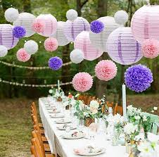 Flower Paper Lanterns Mermaid Party Decor Pink Purple White Paper Flowers Pom Poms Balls And Paper Lanterns For Wedding Birthday Bridal Baby Shower Decor Decorations For