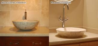 installing ceramic bathroom fixtures. the completed installed vessel sinks, showing above counter installation and recessed installation. installing ceramic bathroom fixtures o