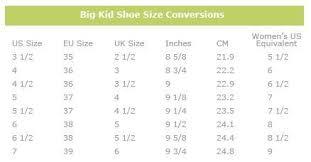 Girls Womens Shoe Size Conversion Chart Shoe Size Chart