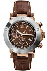 guess watches guess gc collection chronograph brown leather strap 45003g1