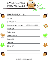 Address And Phone Number List Printable Emergency Numbers Download Them Or Print