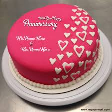 Red Anniversary Cakes With Couple Name Edit Online Free