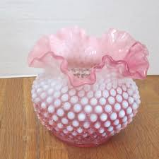 vintage fenton cranberry pink and white opalescent hobnail ruffle glass vase c1950 s