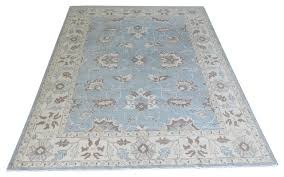 hand knotted light blue fine oushak vegetable dyes oriental rug 9x12