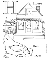 Small Picture Free Alphabet coloring pages Letter H 012
