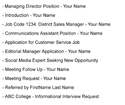 When Emailing A Resume What Should The Subject Be Fresh Subject Line
