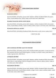 Ceník Kosmetického Ošetření Kosmetické Ošetření Povrchové čištění