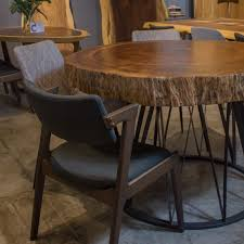 Transitional style inspired dining set. Suar Wood Circular Dining Table Masons Home Decor