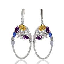 trendy las jewelry colorful 925 silver cz drop dangle earring diamond chandelier earrings