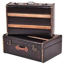 Goplus Set of 2 Vintage Suitcase, Old Style Suitcase, Retro Antique  Luggage, Train