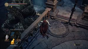 follow the singular path into the cathedral depths grab the duel charm and go past the dining room with the three deacons and into a four way intersection