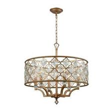 armand 6 light round matte gold with clear crystal chandelier