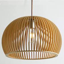 Moderne Pendelleuchte Kunst Holzkäfig E27 Leuchtmittel