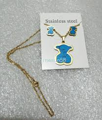 details about new stainless steel turquoise bear pendant necklace earrings set golden