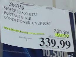 sharp portable air conditioner. costco sale: sharp cv-2p10sc 10,500 btu portable air conditioner $339.99 n